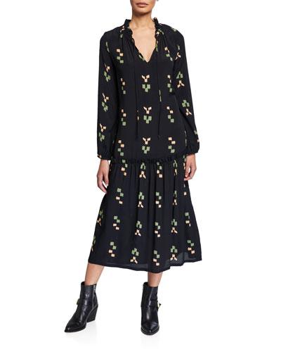 Gail Printed V-Neck Blouson-Sleeve Drop-Waist Dress