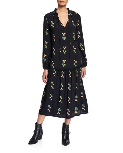 Plus Size Gail Printed V-Neck Blouson-Sleeve Drop-Waist Dress