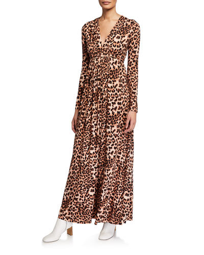 Leopard-Print Jersey Long-Sleeve Caftan Dress