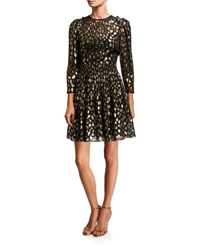 Leopard-Print Metallic Crewneck Dress