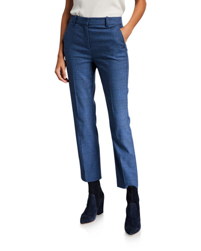 Glen Plaid Straight-Leg Pants