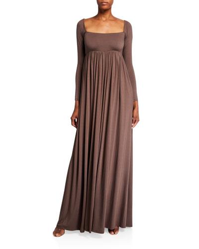 Isa Long-Sleeve Jersey Maxi Dress
