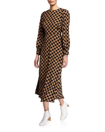 Zola Dot-Print Long-Sleeve A-Line Dress