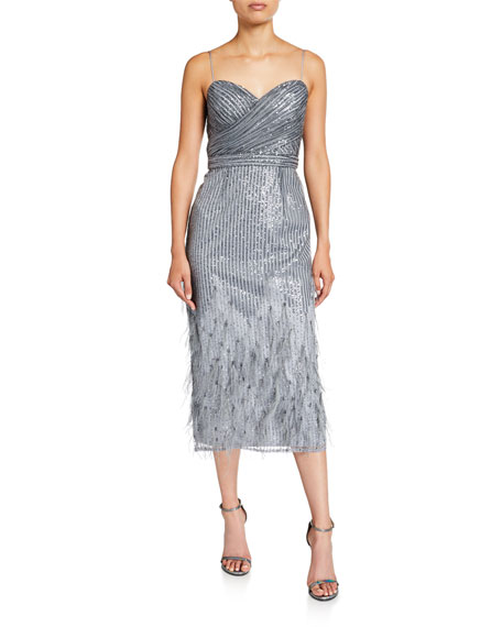 Aidan Mattox Sequin & Feather Sweetheart Midi Cocktail Dress with Spaghetti-Straps