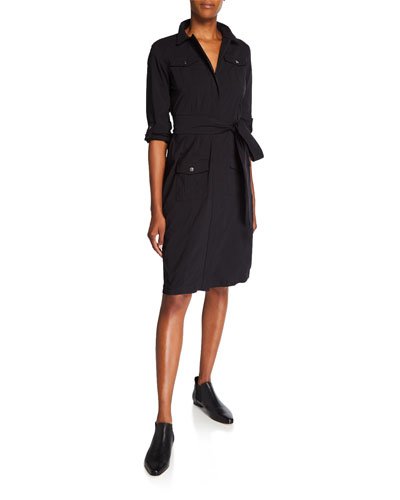 Lina Long-Sleeve Shirtdress with Cargo Details