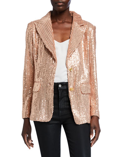 Plus Size Sequin Two-Button Blazer