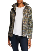 Anatomie Kira Camo-Print High-Neck Zip-Front Jacket
