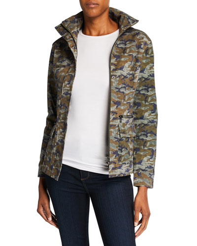 Kira Camo-Print High-Neck Zip-Front Jacket
