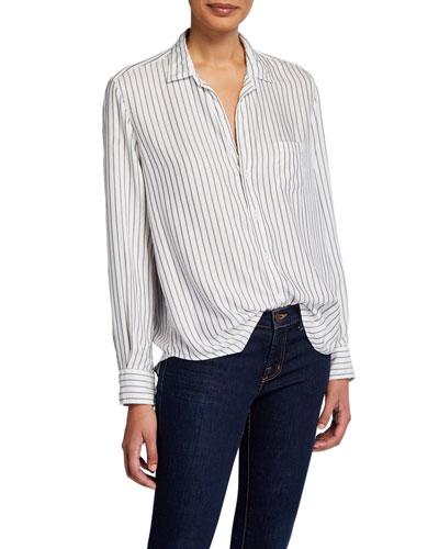Striped Long-Sleeve Button-Down Shirt