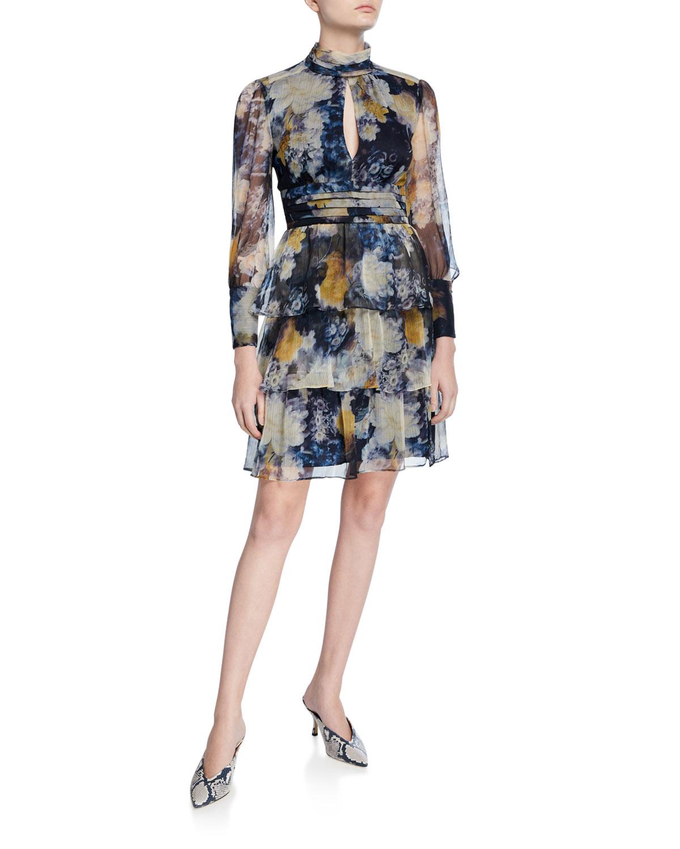 Amanda Uprichard Dresses SAMIRA PRINTED TIERED MOCK-NECK DRESS