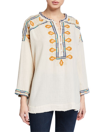 Plus Size Pillar Embroidered Long-Sleeve Gauze Blouse