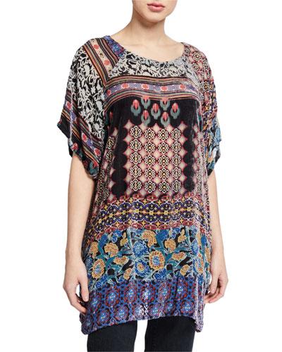 Aztec Burnout Velvet Short-Sleeve Tunic