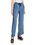 Johnny Was Maera Printed Silk Drawstring Pull-On Pants