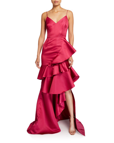 Oates Duchess Tiered Ruffle Satin Cami Gown