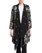 Johnny Was Plus Size Floral Drape Cardigan
