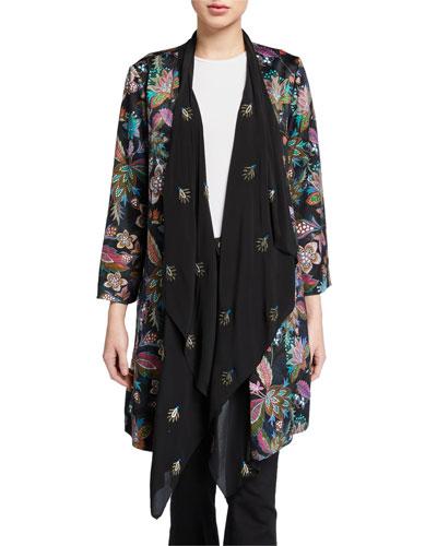 Plus Size Floral Drape Cardigan