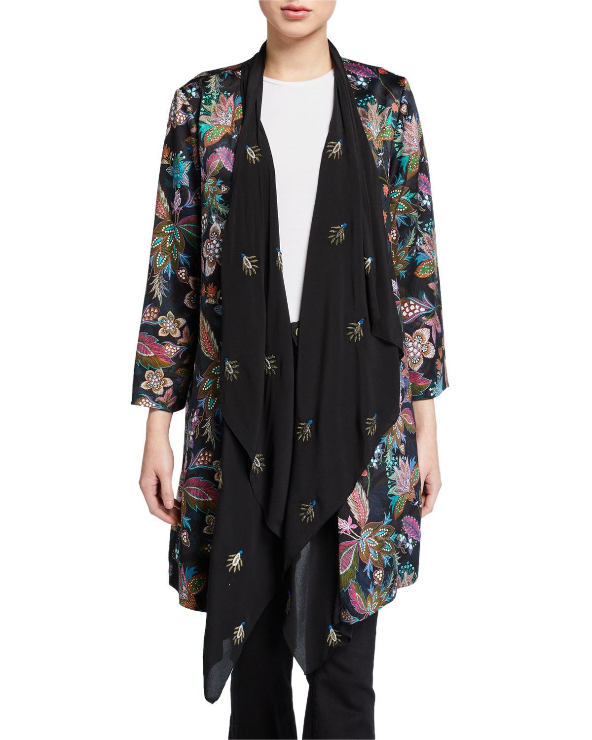 Johnny Was Tops PLUS SIZE FLORAL DRAPE CARDIGAN