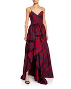 flor et.al Duran Jacquard Check Printed High-Low Dress