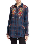 Johnny Was Talline Painters Smock Shirt with Embroidery