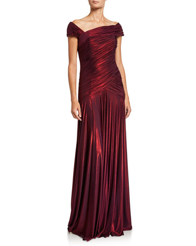 Off-the-Shoulder Cap-Sleeve Shirred Gown