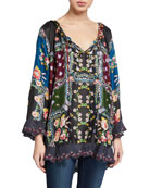 Johnny Was Paisley Scallop Edge Tie-Neck Silk Blouse