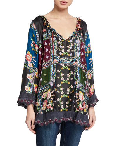 Paisley Scallop Edge Tie-Neck Silk Blouse