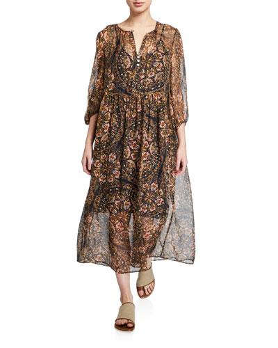Jolene Printed Blouson-Sleeve Silk Maxi Dress