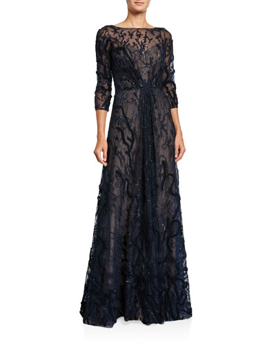 Embellished Bateau-Neck 3/4-Sleeve A-Line Illusion Gown