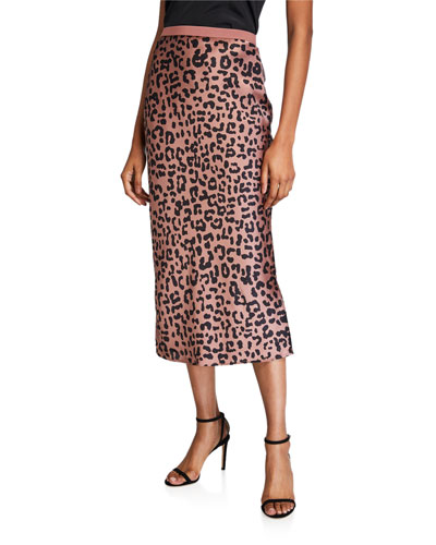 The Jessica Graphic Leopard Silk Midi Skirt