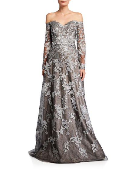 Rene Ruiz Off-the-Shoulder Long-Sleeve Lace Gown
