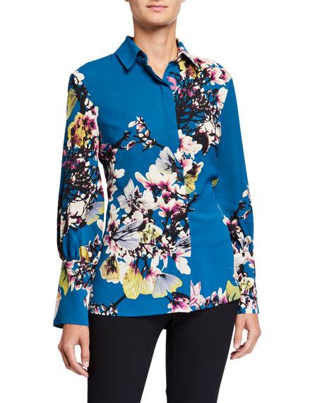 Natori Bouquet Print Long-Sleeve Button-Down Blouse