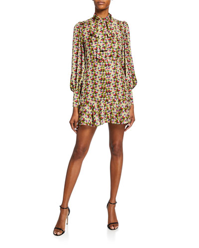 Mirene Tie-Neck Geo-Print Mini Dress