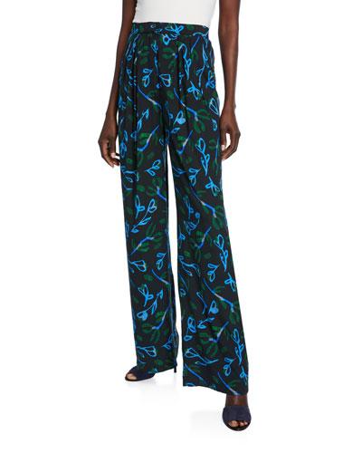 Puada Printed Silk Trousers