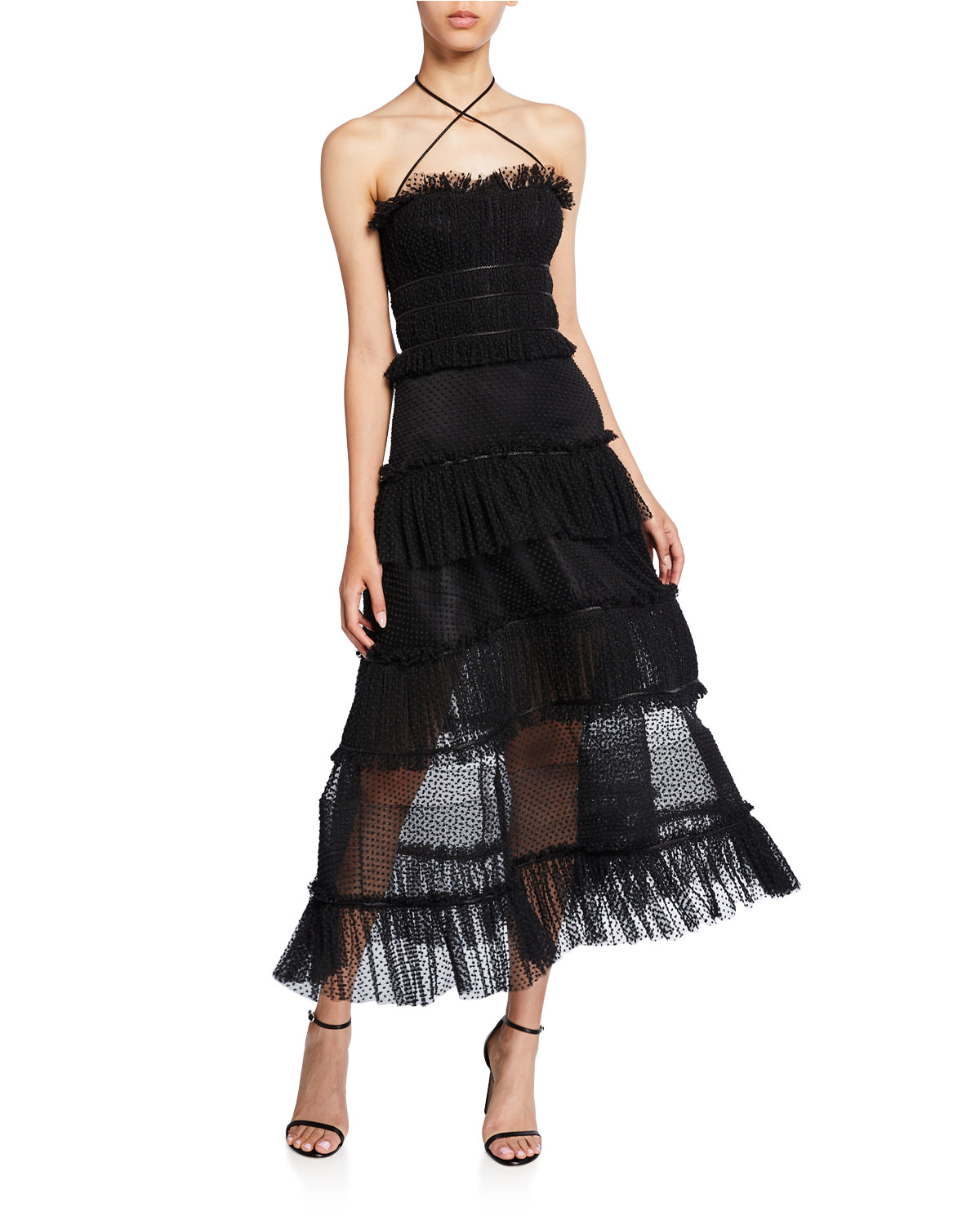 Alexis Dresses ANGELINA TIERED RUFFLE COCKTAIL DRESS