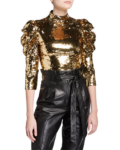 Brenna Sequined Fitted Puff-Sleeve Top