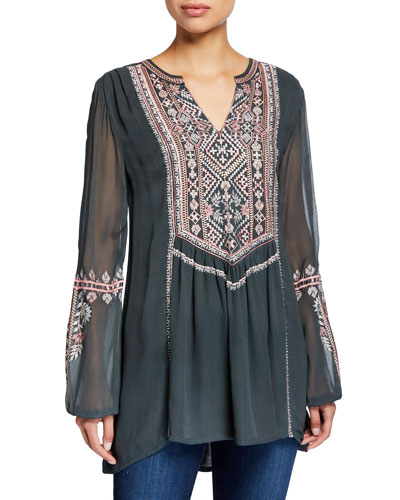 Plus Size Lauren V-Neck Long-Sleeve Tunic with Floral Embroidery