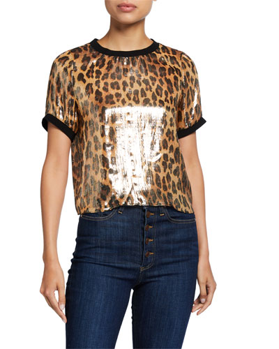 Piera Rib-Trim Metallic Tee