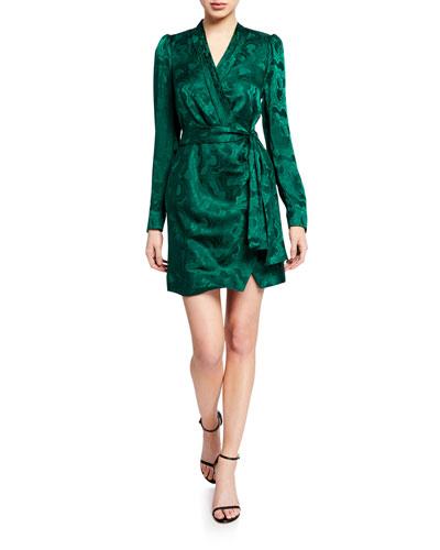 Bibi Long-Sleeve Mini Wrap Dress