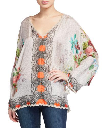 October V-Neck Cinch Sleeve Silk Top