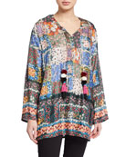 Johnny Was Daisy Floral Long-Sleeve Top with Pompom