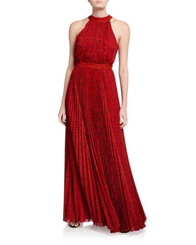 Kelissa Sunburst Pleated Maxi Halter Dress