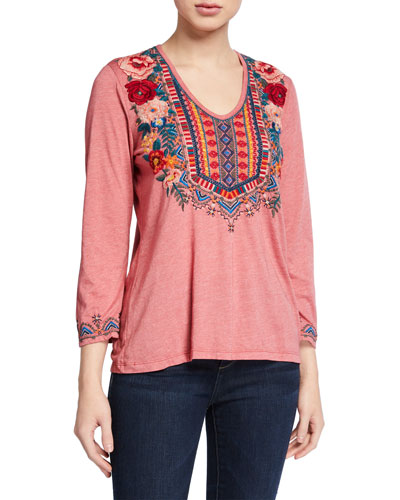 Tia Embroidered 3/4-Sleeve Deep Scoop-Neck T-Shirt