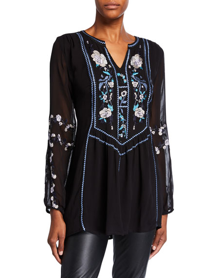 Tolani Plus Size Lauren Silk Long-Sleeve Tunic with Embroidery