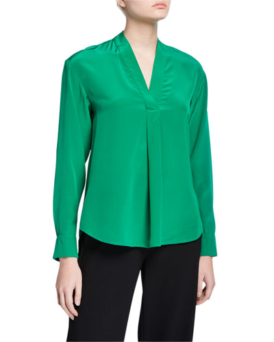 Sanorah V-Neck Silk Top