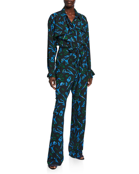 Christian Wijnants Ozana Printed Silk Jumpsuit