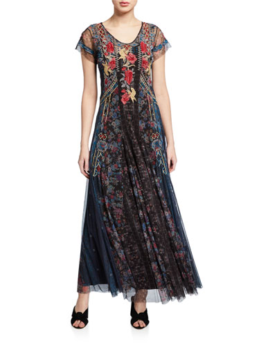Rhovi Short-Sleeve Long Mesh Dress