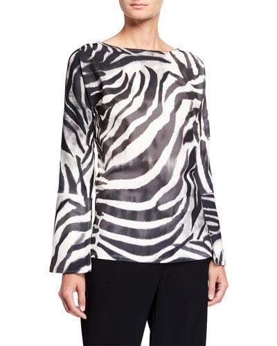 Serengeti Zebra-Stripe Flare-Sleeve Tunic