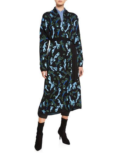Kordo Jacquard Open-Front Long Cardigan