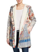 Johnny Was Thai Printed Anorak Jacket with Sherpa