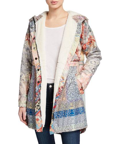 Thai Printed Anorak Jacket with Sherpa Lining